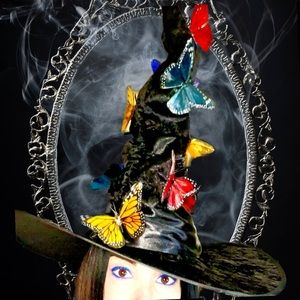 """Black Velour & Satin """"Butterfly Effect"""" Witch Hat"""